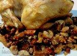Цыпленок корнишон с печеными каштанами, лимоном, орехами пекан и индийской приправой гарам масала
