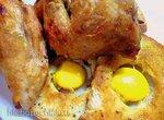 Цыпленок с желтками на крутонах