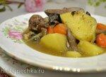 Жаркое с грибами, картофелем и печенью индейки тушеное в духовке