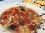 Суп из индейки с сырными гренками