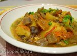 Постное рагу картофельное с грибами и сушеными баклажанами (восстановленное)