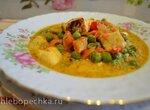 Рагу с овощами, зеленым горошком, сыром панир, кокосовыми сливками