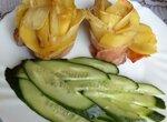 Картофельные розы с беконом и сыром