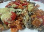 Тыква с грибами и томатами