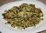 Зеленый рис с курицей и шпинатом