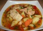 Суп рыбный на курином бульоне с бедрышками