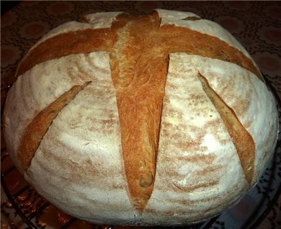 Хлеб пшеничный цельнозерновой на закваске (в духовке)