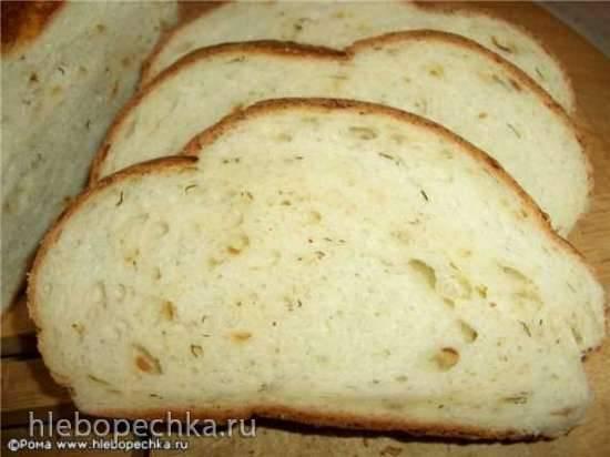 Хлеб пшеничный с луком, творогом, укропом (духовка)