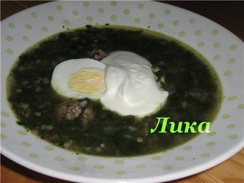 Суп шпинатный с гречкой