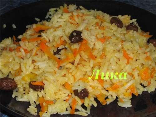 """Корейская морковь """"По-нашему"""" Рис с морковью и изюмом"""