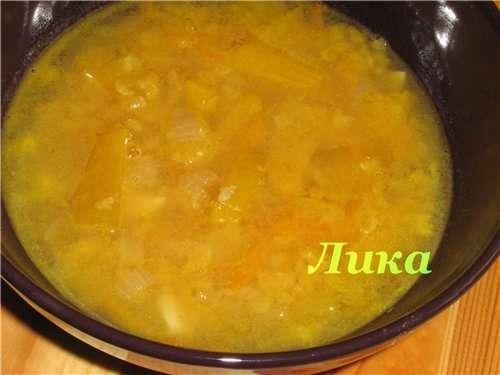 Суп тыквенный с чечевицей (на плите или в мультиварке)