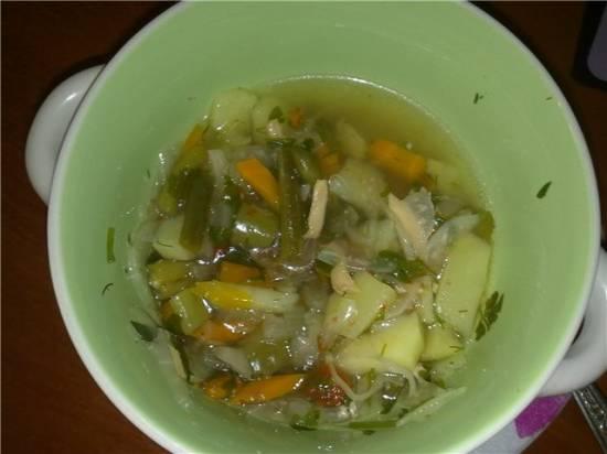 Овощной суп на мясном бульоне. (Cuckoo 1054)