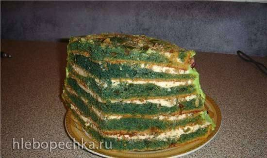 Торт «Зеленый» с халвой