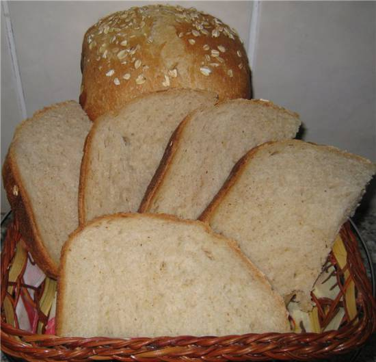 Белый пшеничный хлеб на закваске, среднекислый от Ромы в хлебопечке