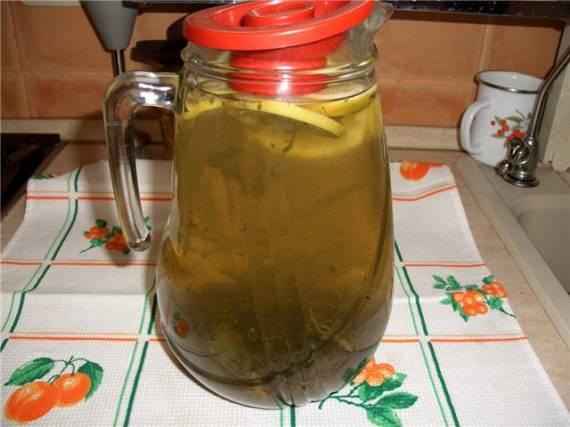 Напиток «зеленый чай с мятой и лимоном»