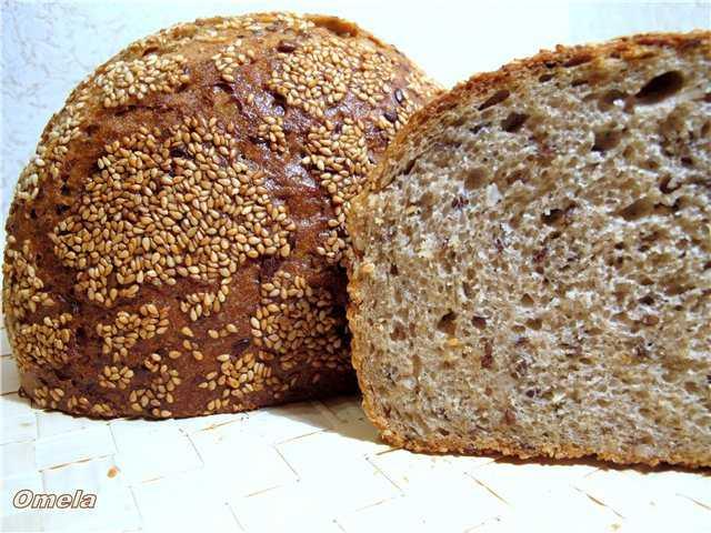 Хлеб из цельносмолотой муки с кунжутом