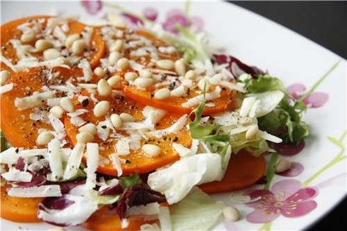 Салат из хурмы с пармезаном