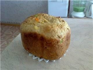 Апельсиновый хлеб с цукатами и орехами (хлебопечка)