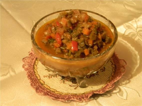 Рагу овощное со стручковой фасолью, без воды и масла Овощное рагу (постное)