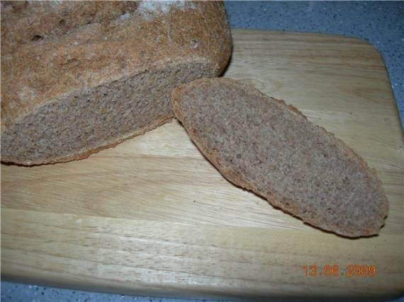 Хлеб из цельной муки с диспергированным проросшим зерном пшеницы