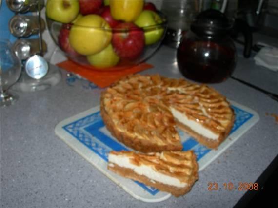 Сухой яблочный пирог цельнозерновой, открытый