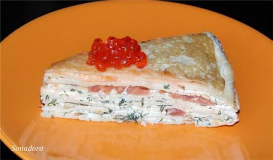 Кабачковый  блинный торт Закусочный