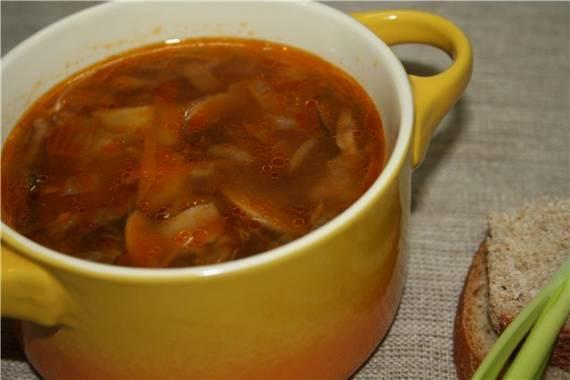 Суп грибной с ячневой крупой в мультиварке