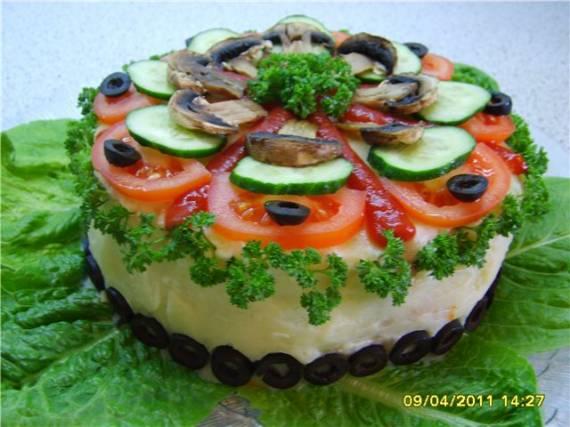 Закусочный грибной торт