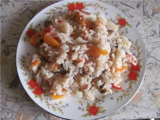 Рис с замороженными и свежими овощами (мультиварка Aurora) Рис с замороженными и свежими овощами (мультиварка Aurora)