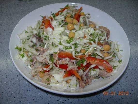 Капустная основа для салатов, варианты капустных салатов с нутом