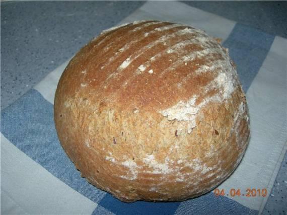 Цельнозерновой пшенично-ржаной молочный хлеб из «холодного» теста