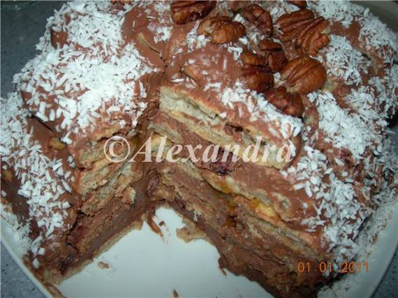 Торт из заварного цельнозернового теста с облегчённым шоколадно-сырным кремом и фруктовым джемом без сахара