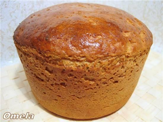 Пшенично-ржаной хлеб с колбасой и сыром в мультиварке Polaris