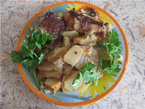 Рыба с картофелем  (мультиварка Aurora)