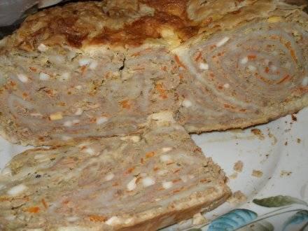 Мясной пирог с лавашем в мультиварке