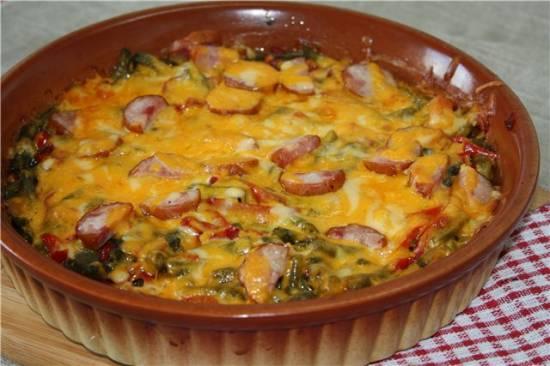 Сырная запеканка с зеленой фасолью