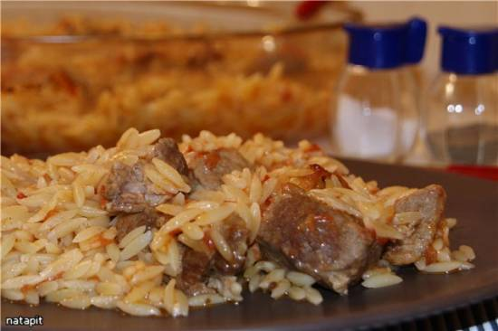 Гюветч из мяса и пасты орзо