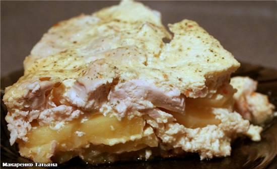 Картофель с куриным филе под сырным омлетом(Cuckoo 1054)