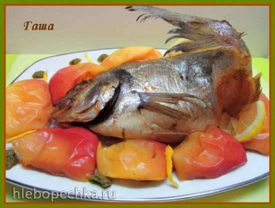 Дорада, запеченная целиком на винном яблоке.  «Хмельная» золотая рыбка.