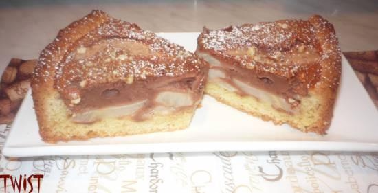 Пирог шоколадно-творожный с грушами
