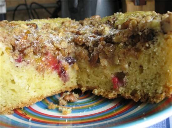 Пирог фруктовый с посыпкой в мультиварке Panasonic