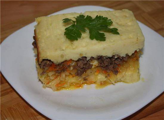 Запеканка картофельная с капустой и мясным фаршем