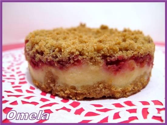 Пирог творожно-малиновый с овсянкой
