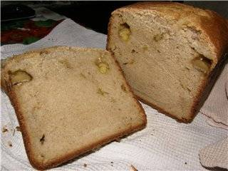 Пшеничный хлеб с жареными шампиньонами  (хлебопечка)