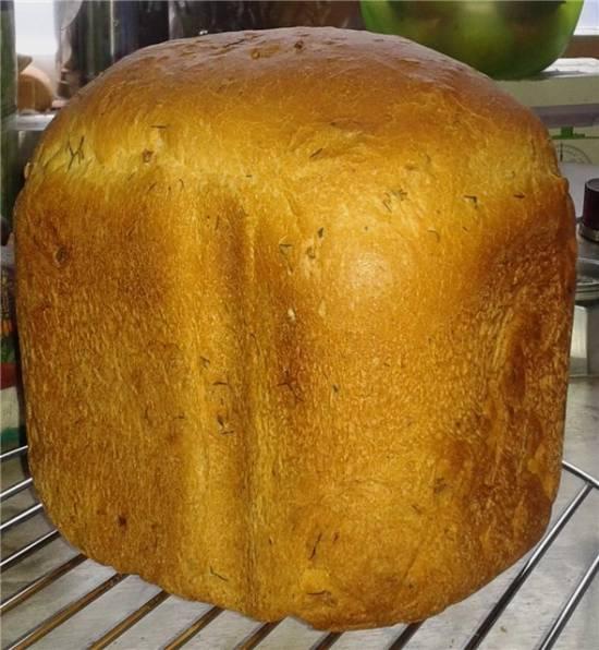 Пшенично-кукурузный хлеб с добавлением сыра (хлебопечка)