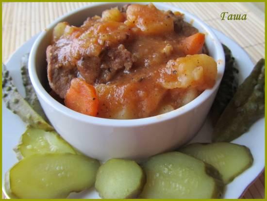 Рагу из телятины с овощами в мультиварке Brand 502