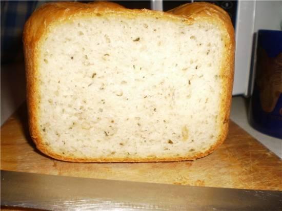 Белый хлеб по итальянски с сыром (хлебопечка)