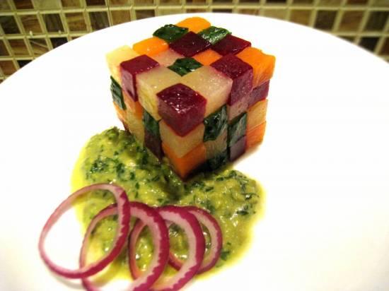 Винегрет с использованием насадки кубики для кухонной машины Kenwood