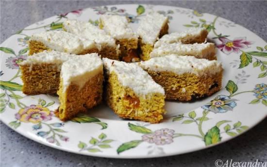 Пирожные постные тыквенно-кокосовые с кремом из белого шоколада