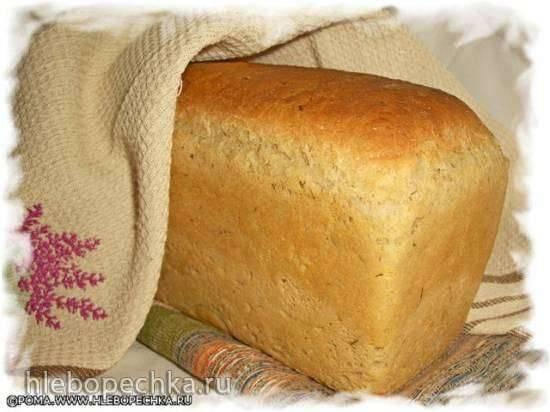 Хлеб из смеси хлопьев на старом тесте и капустном рассоле (хлебопечка без режима Выпечка)